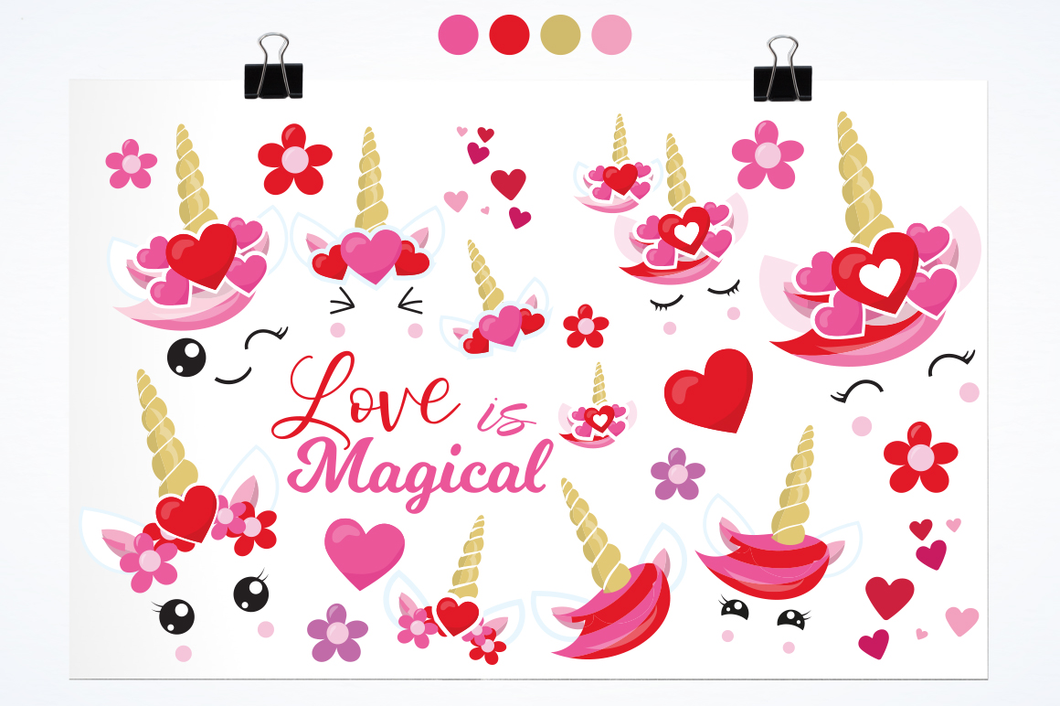 Love Unicorn faces graphic and illustrations example image 3