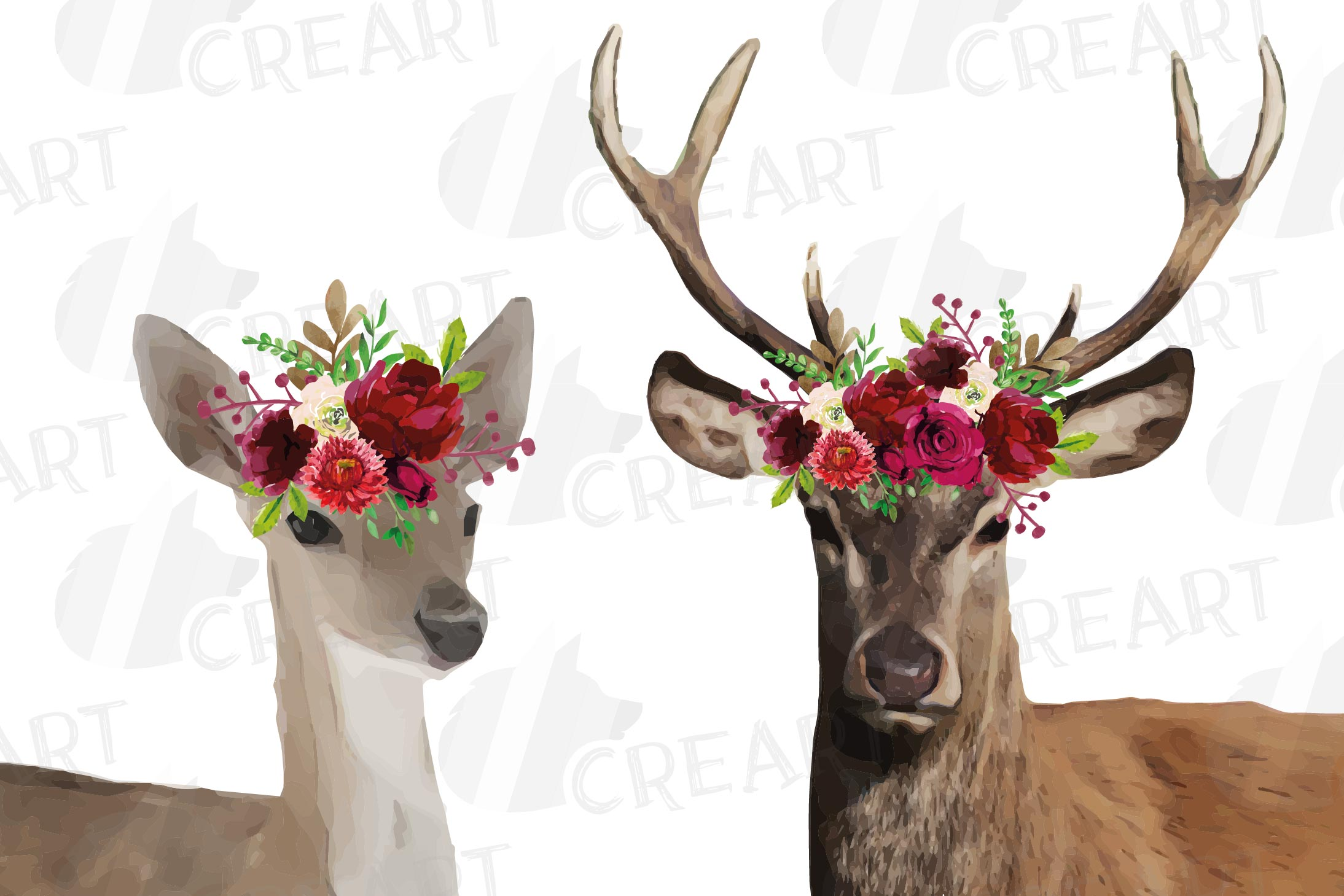 Deer couple with floral burgundy crown match shirt clip art example image 1