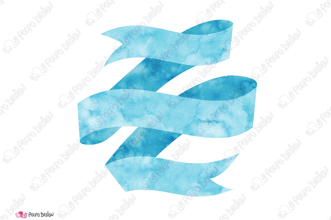 Blue Watercolor Banner clip art example image 2