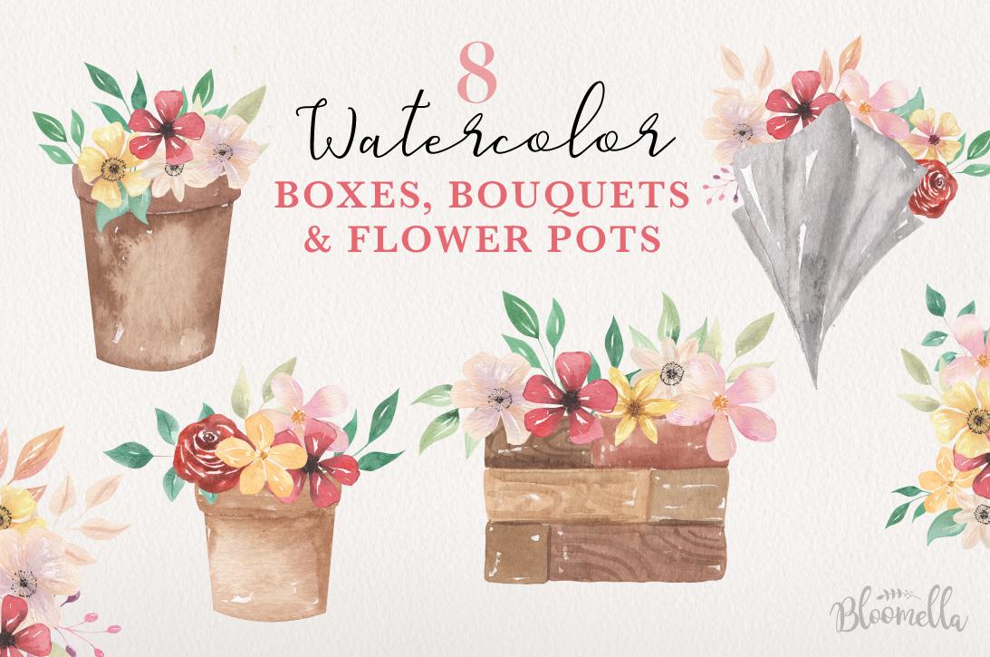 Floral 8 Bouquets Boxes, Flower Pots Watercolor Elegant example image 1