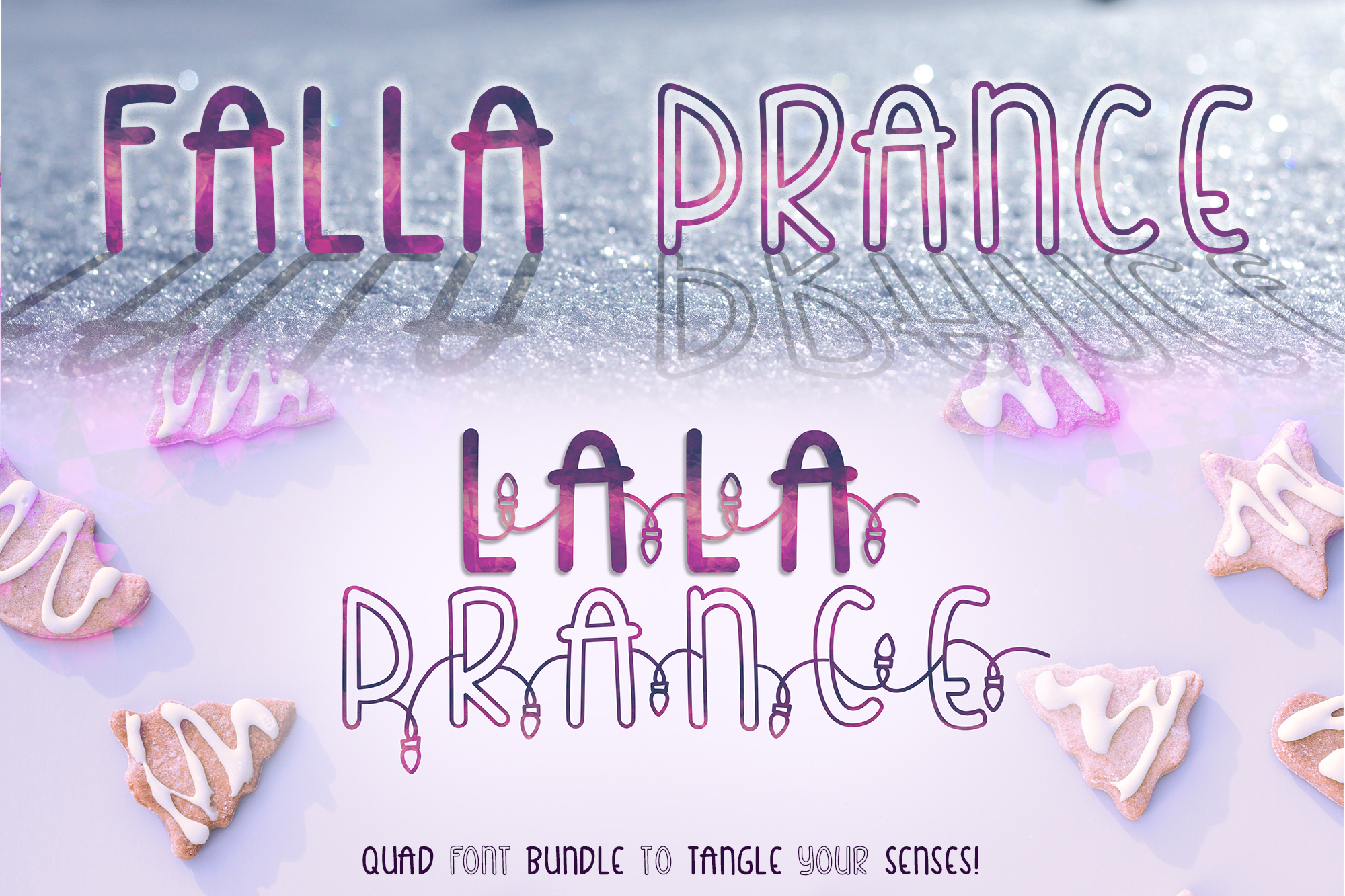 Falla & Lala Prance Bundle| A cute all caps quad font example image 1