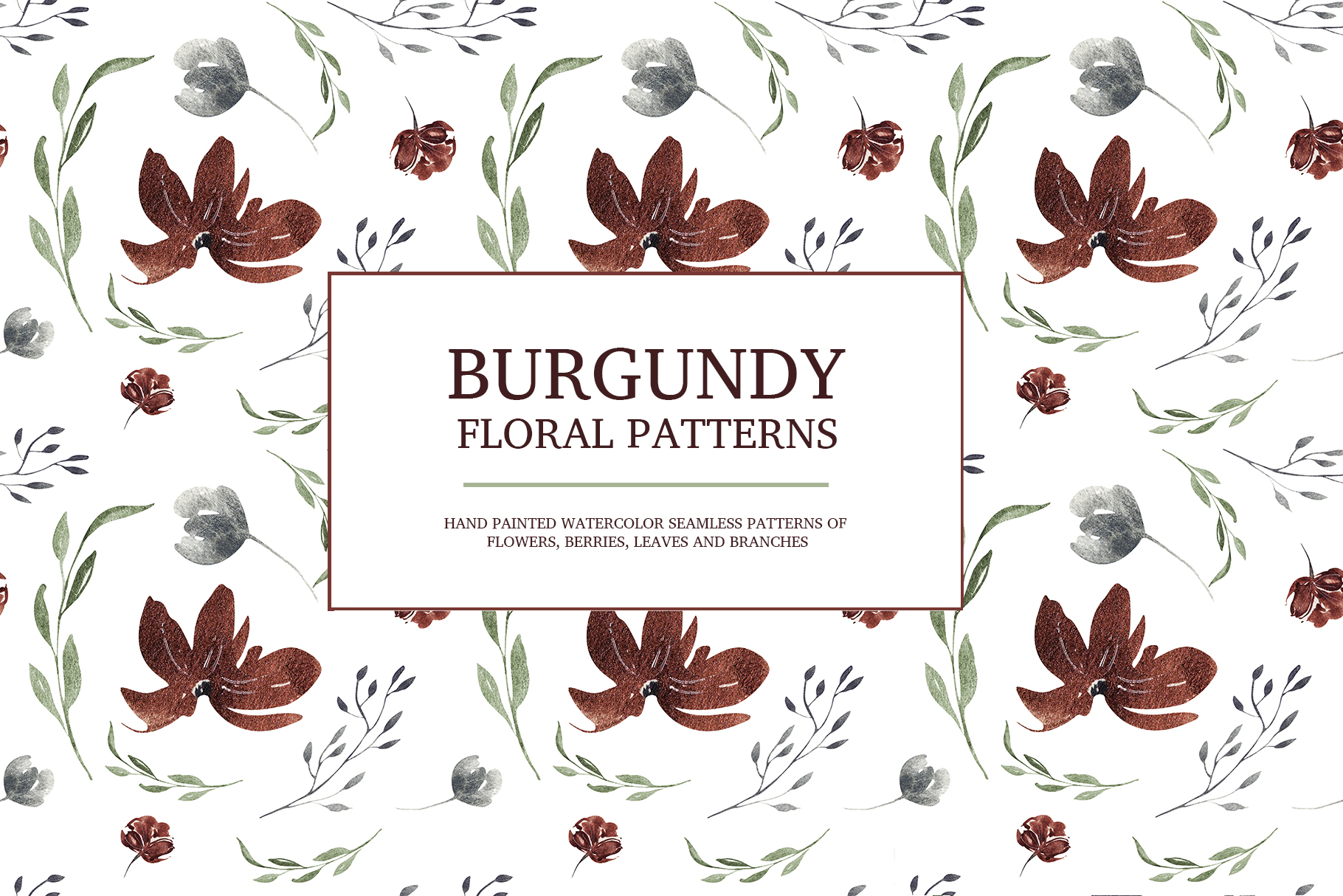 Burgundy floral seamless patterns, Seamless peony pattern example image 9