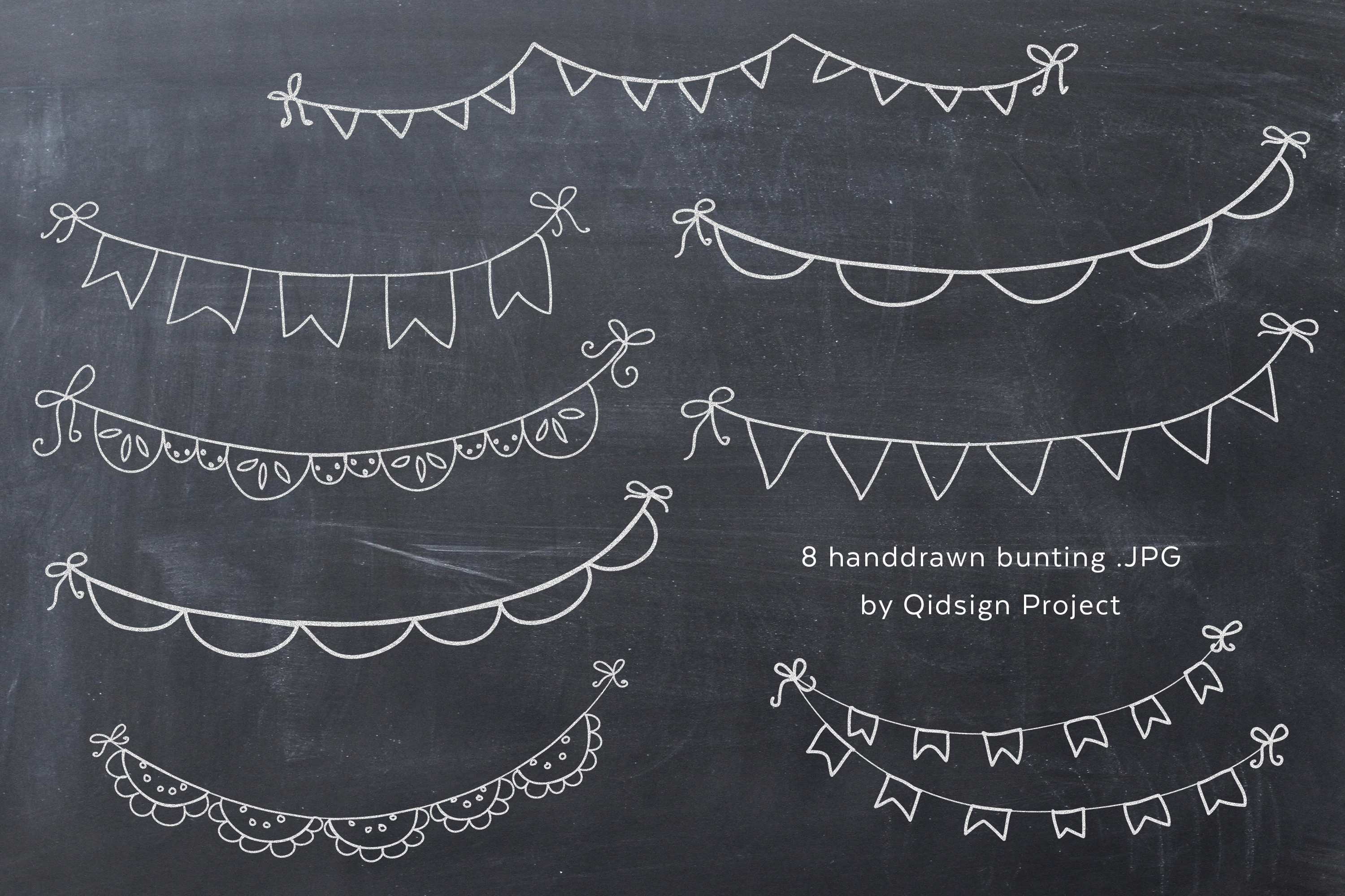 Hand Drawn Chalk Bunting .PNG example image 1