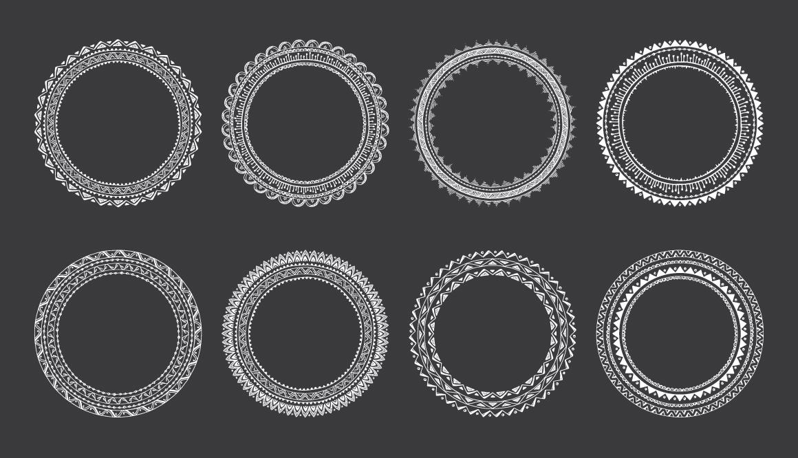 10 Hand Drawn Decorative Round Frames example image 3
