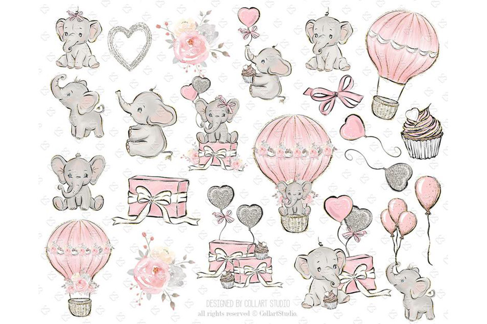 Baby Elephant clipart, Baby girl clipart, birthday clipart example image 2