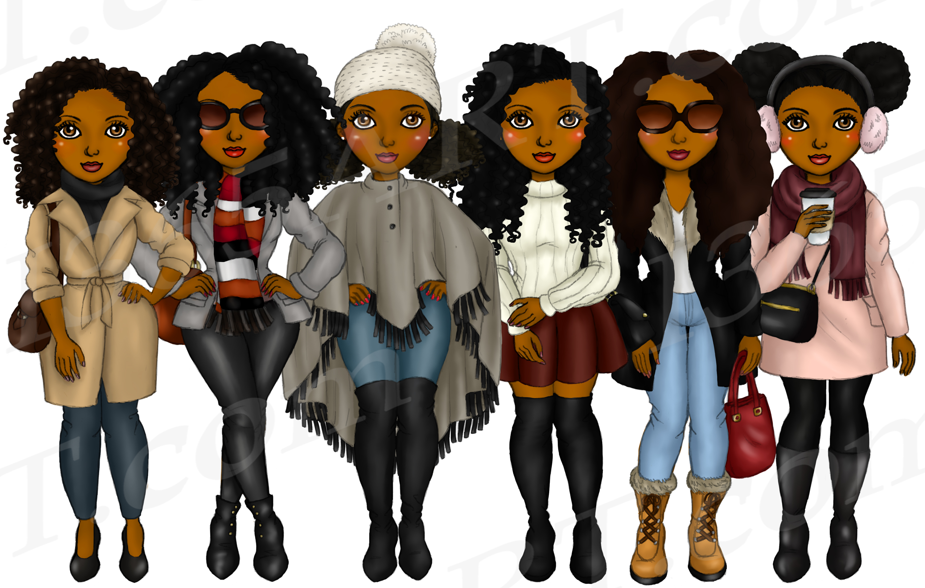 Winter Fashion Girls Black Natural Hair Planner Clipart example image 2