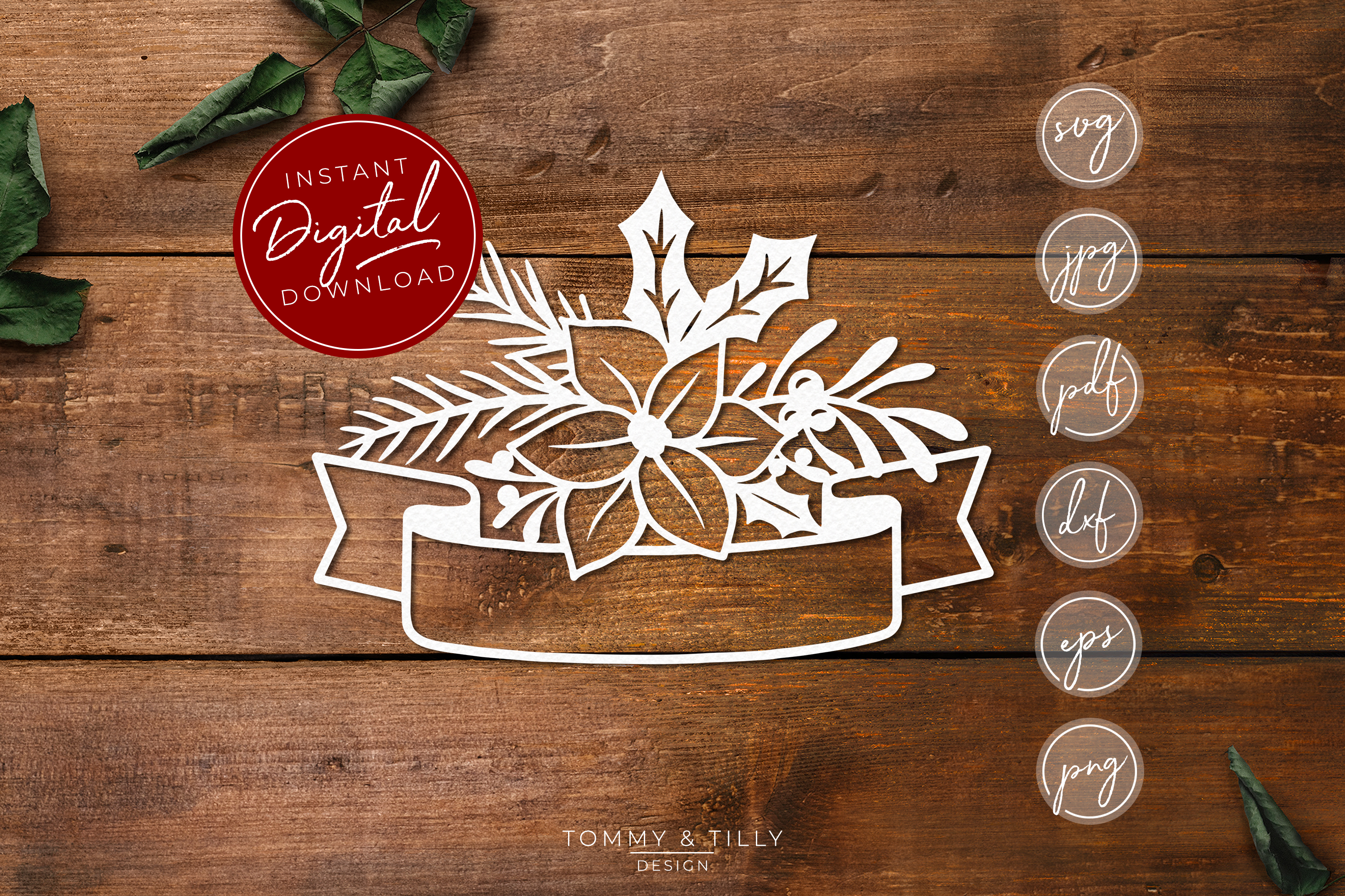 Christmas Banner - SVG EPS DXF PNG PDF JPG Cut File example image 1
