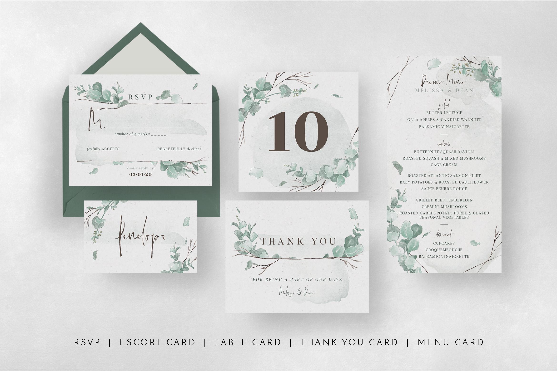 Watercolor Eucalyptus Wedding Suite example image 8