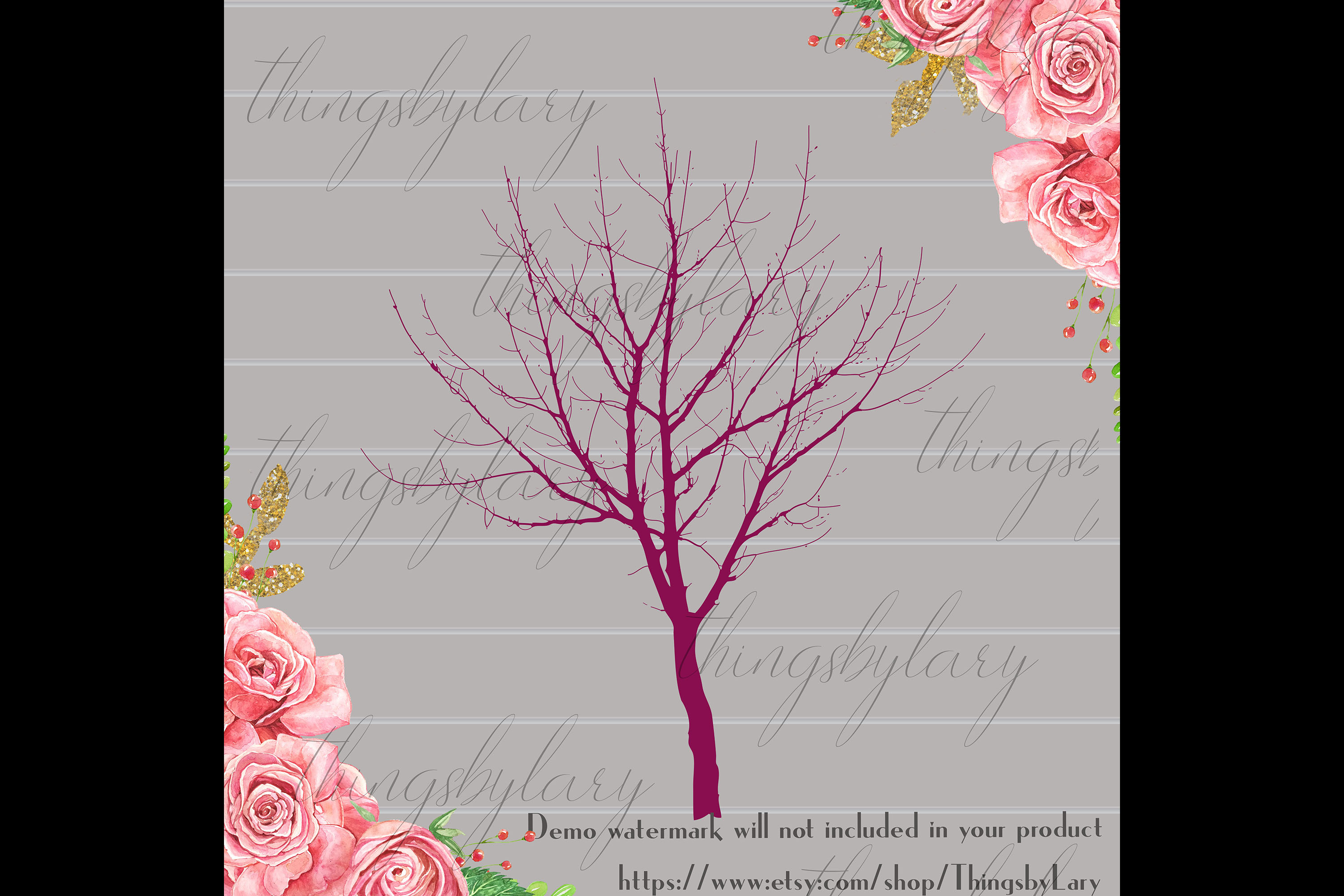 256 Winter Tree Branch Silhouette Wedding PNG Digital Images example image 3