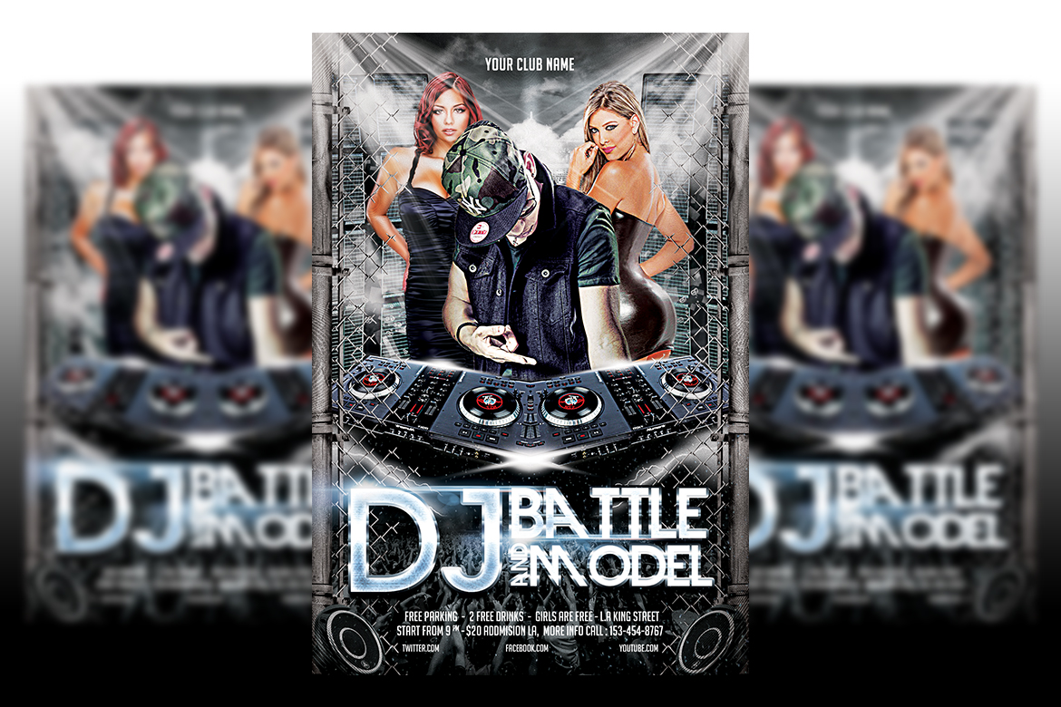 DJ Battle and Model Party Flyer example image 1