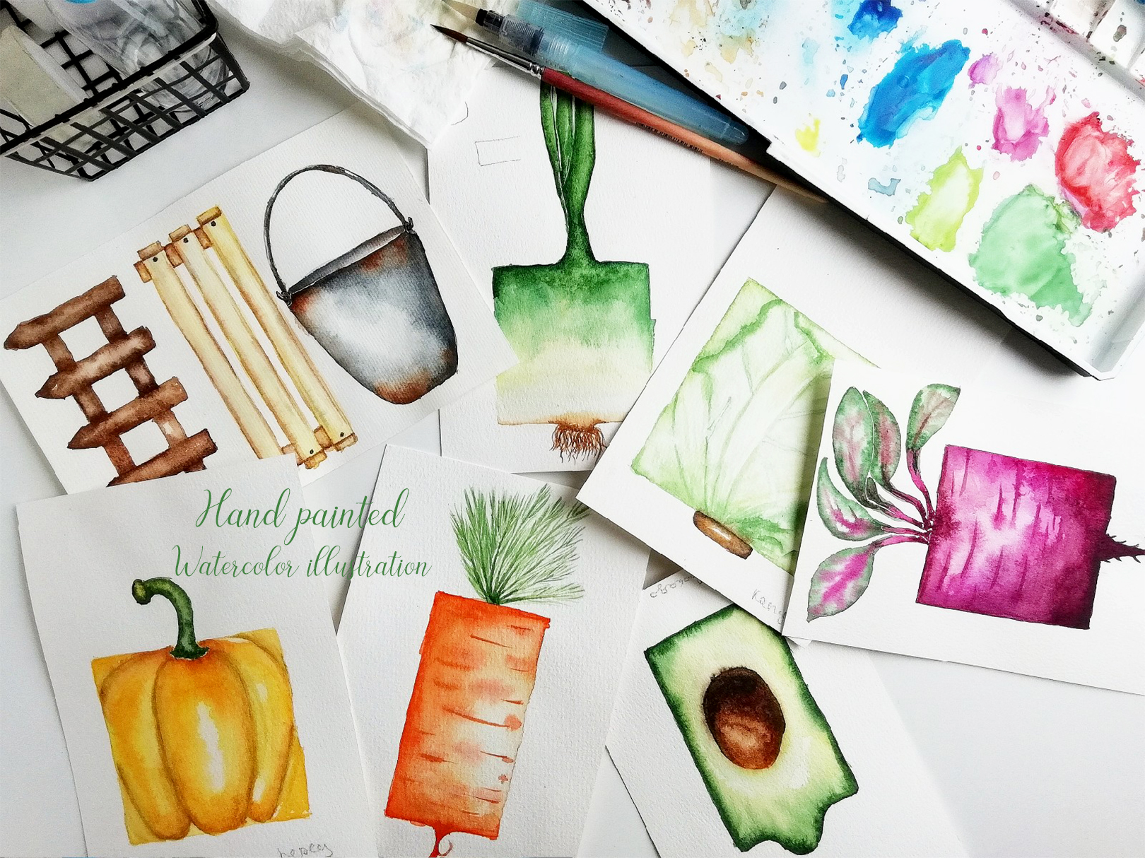 Watercolor vegetable garden example image 3