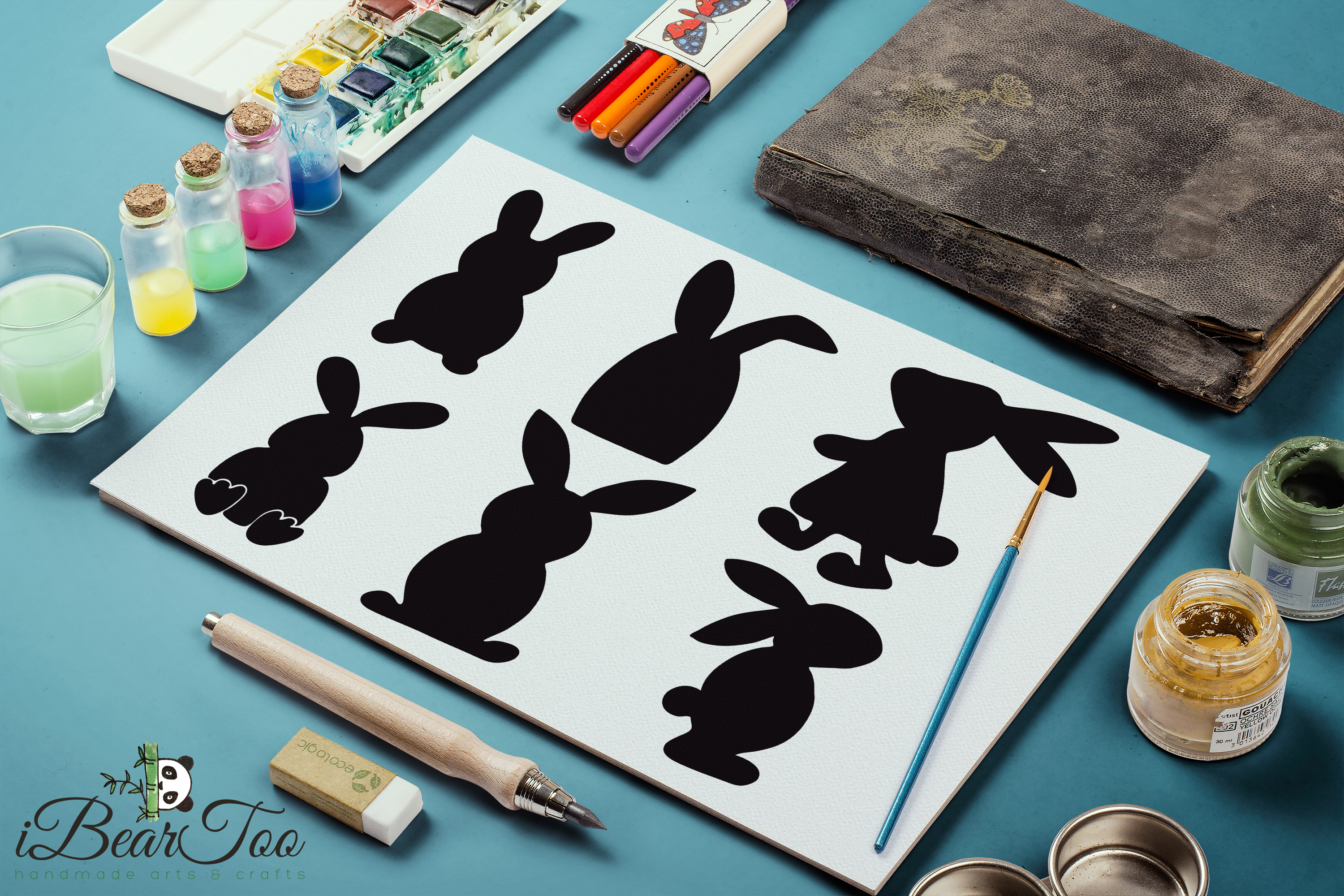 Easter Bunnies SVG Bundle Clipart Rabbits Vector Drawing example image 10