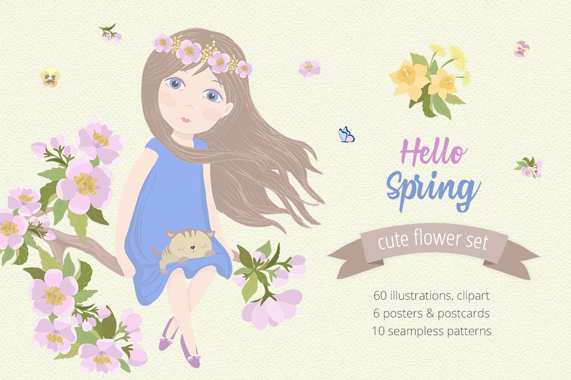 Hello Spring Illustration Set example image 1