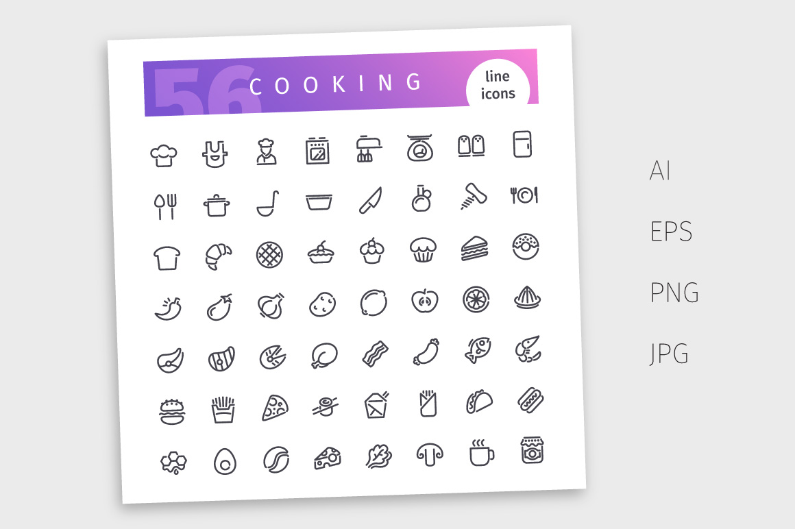 Cooking Line Icons Set example image 4