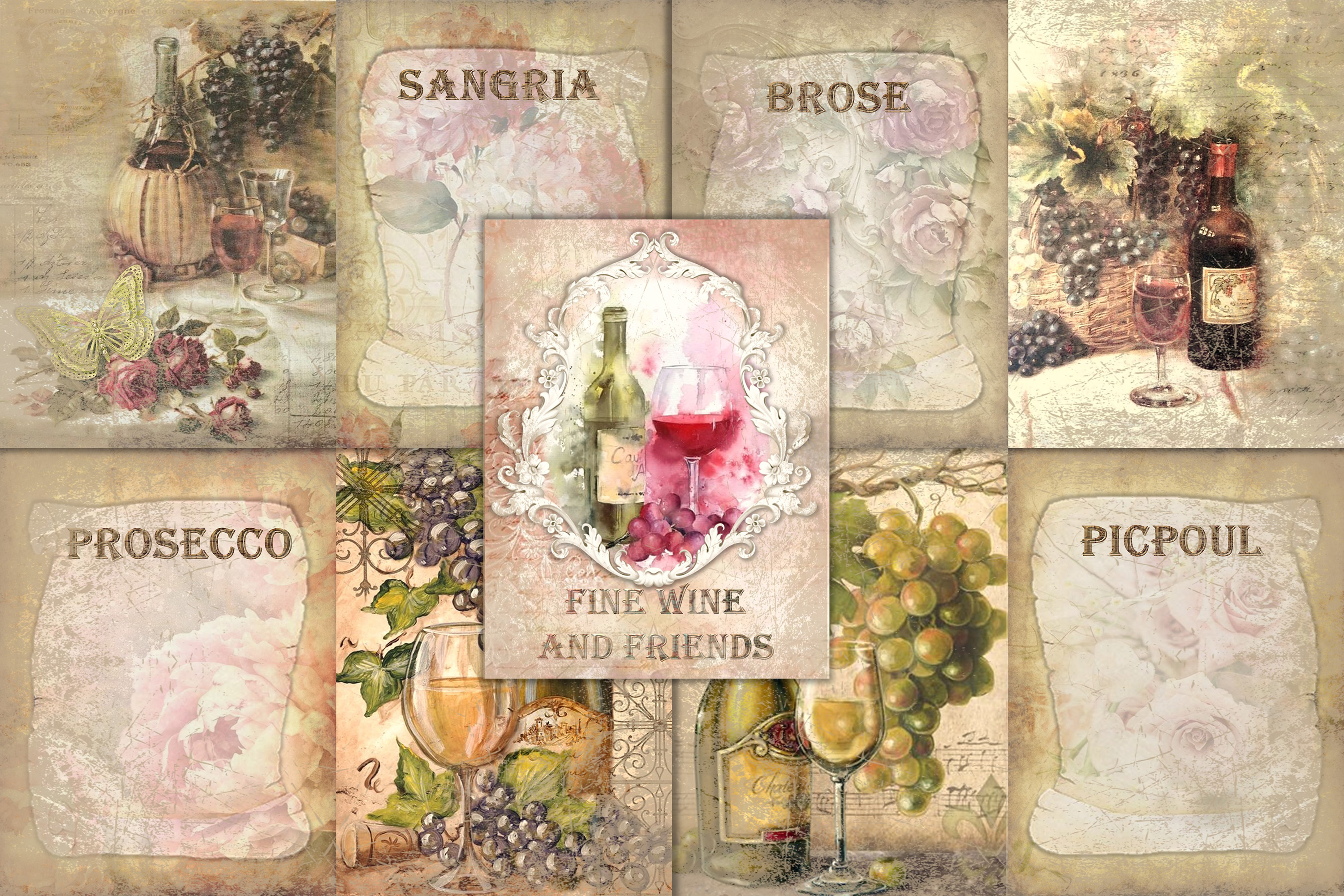 10 Wine Journaling backgrounds printable commercial use example image 1