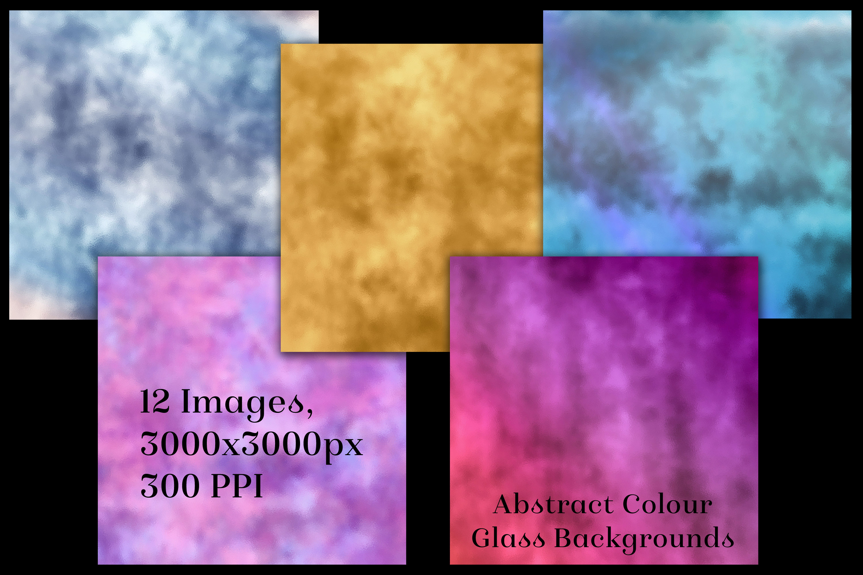 Abstract Colour Glass Backgrounds - 12 Image Textures Set example image 2