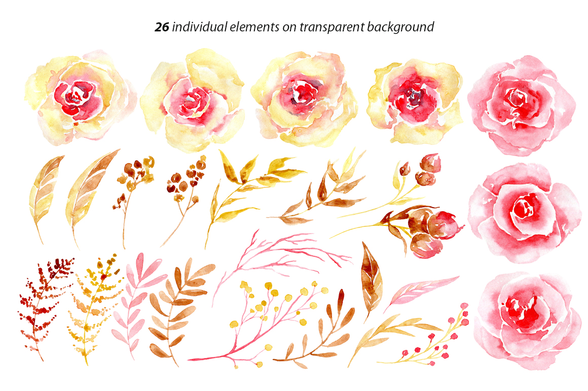 Watercolor flowers yellow & pink png example image 2