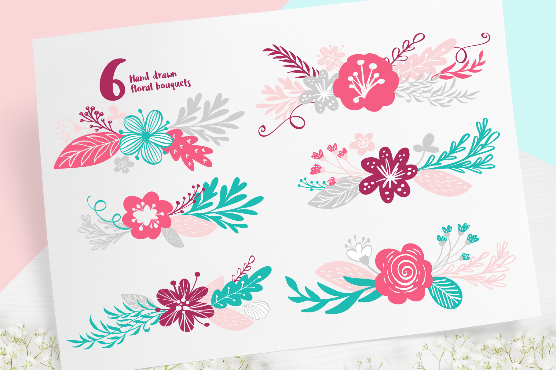 Spring vector lettering & floral greeting card example image 8