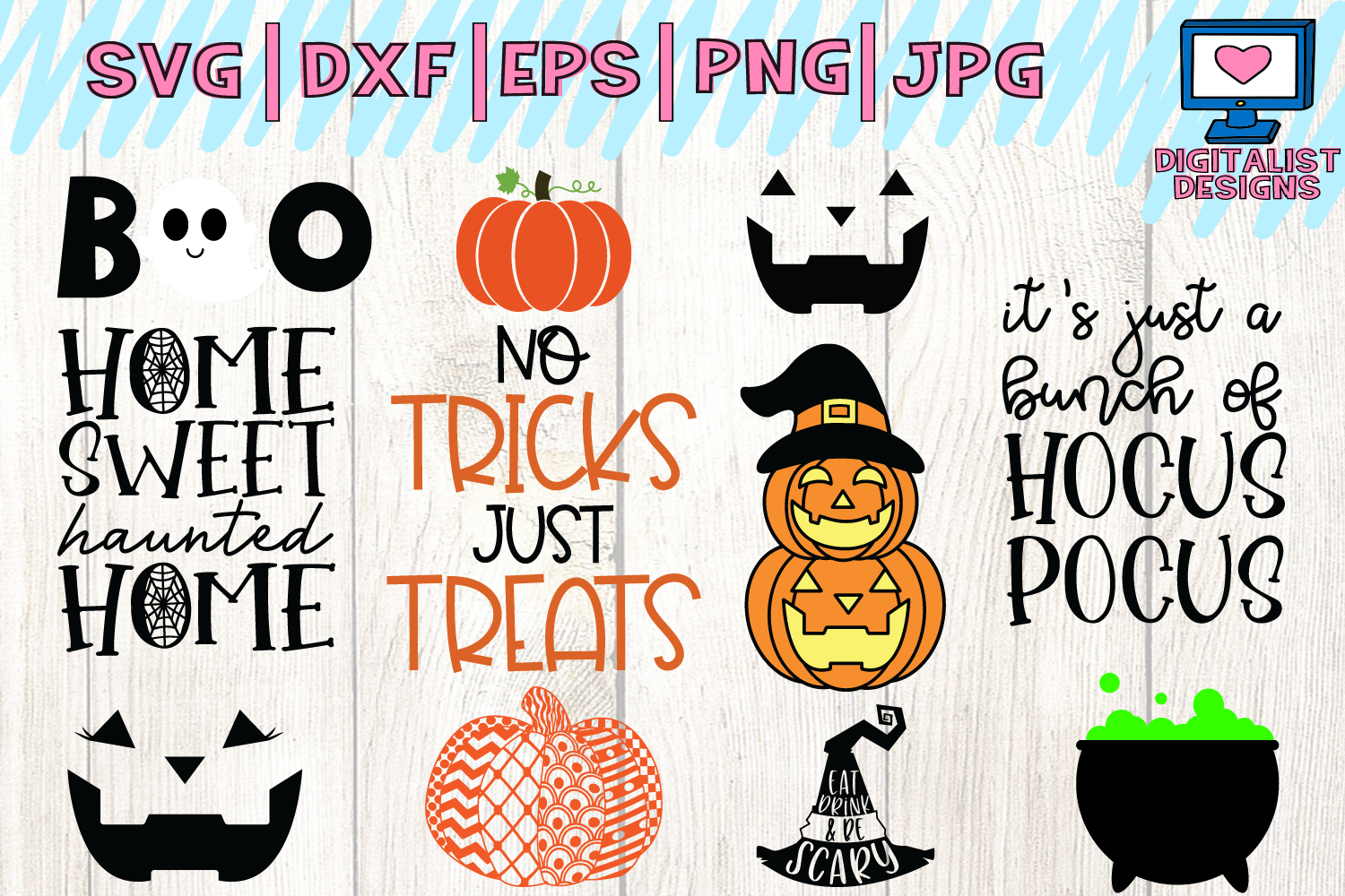 Halloween bundle svg, fall, october, witch, png, dxf example image 3