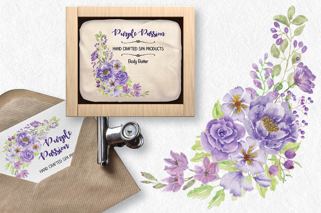 Watercolor sprays of purple and lilac flowers example image 4