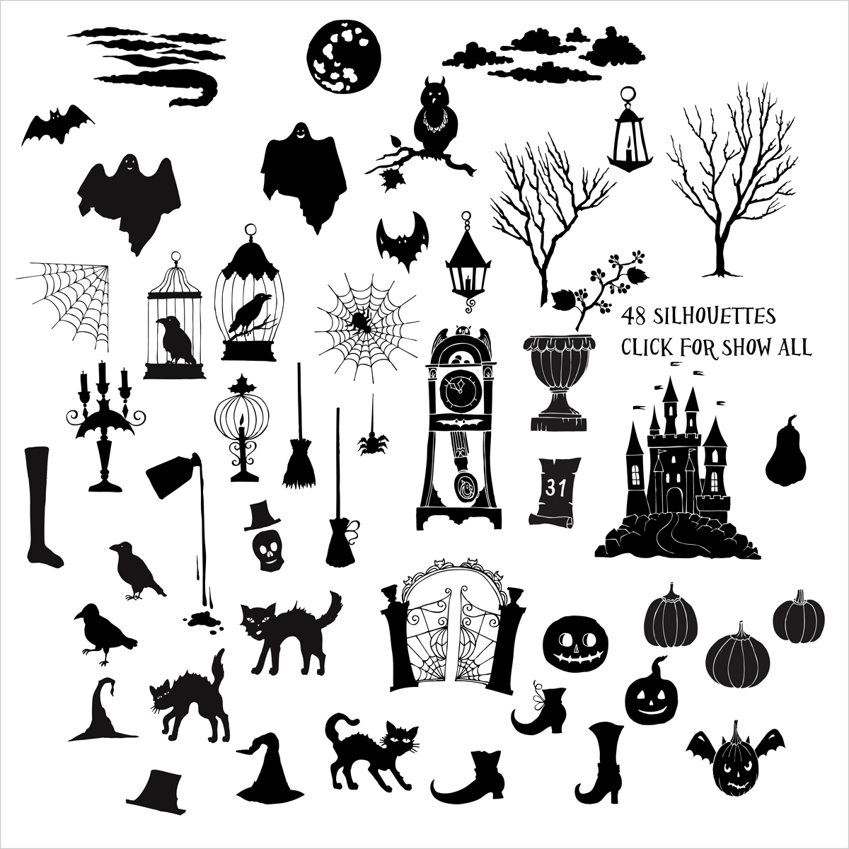 Halloween. Sketches and Silhouettes example image 4