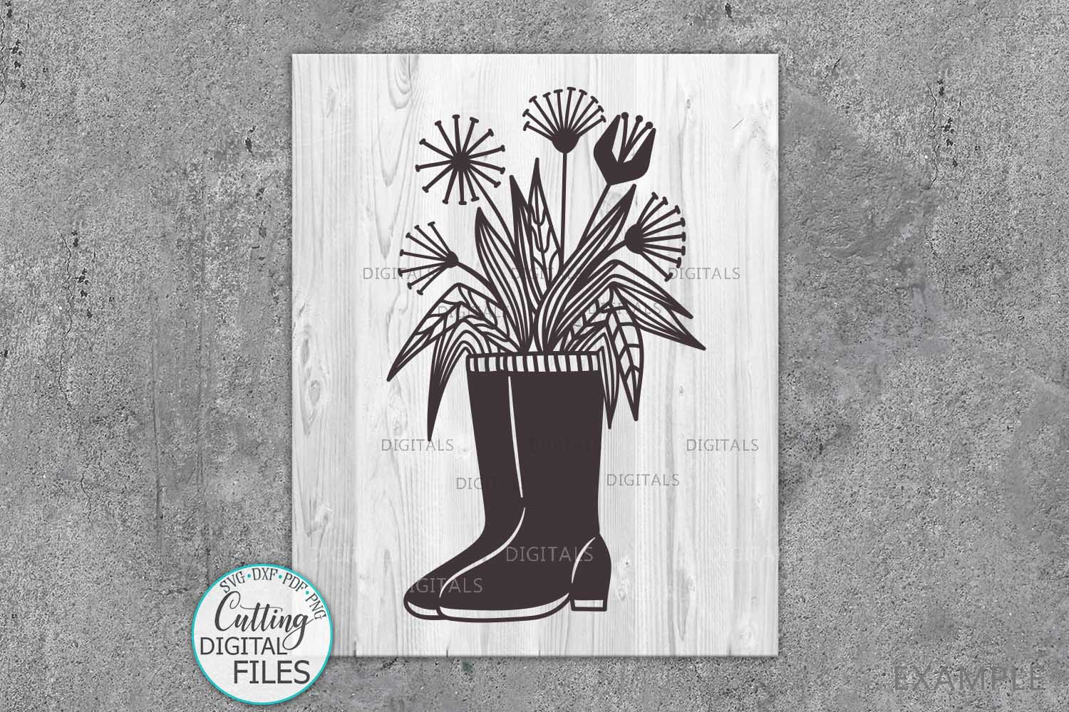 Wellies rain boots with flowers svg dxf cutting templates example image 3
