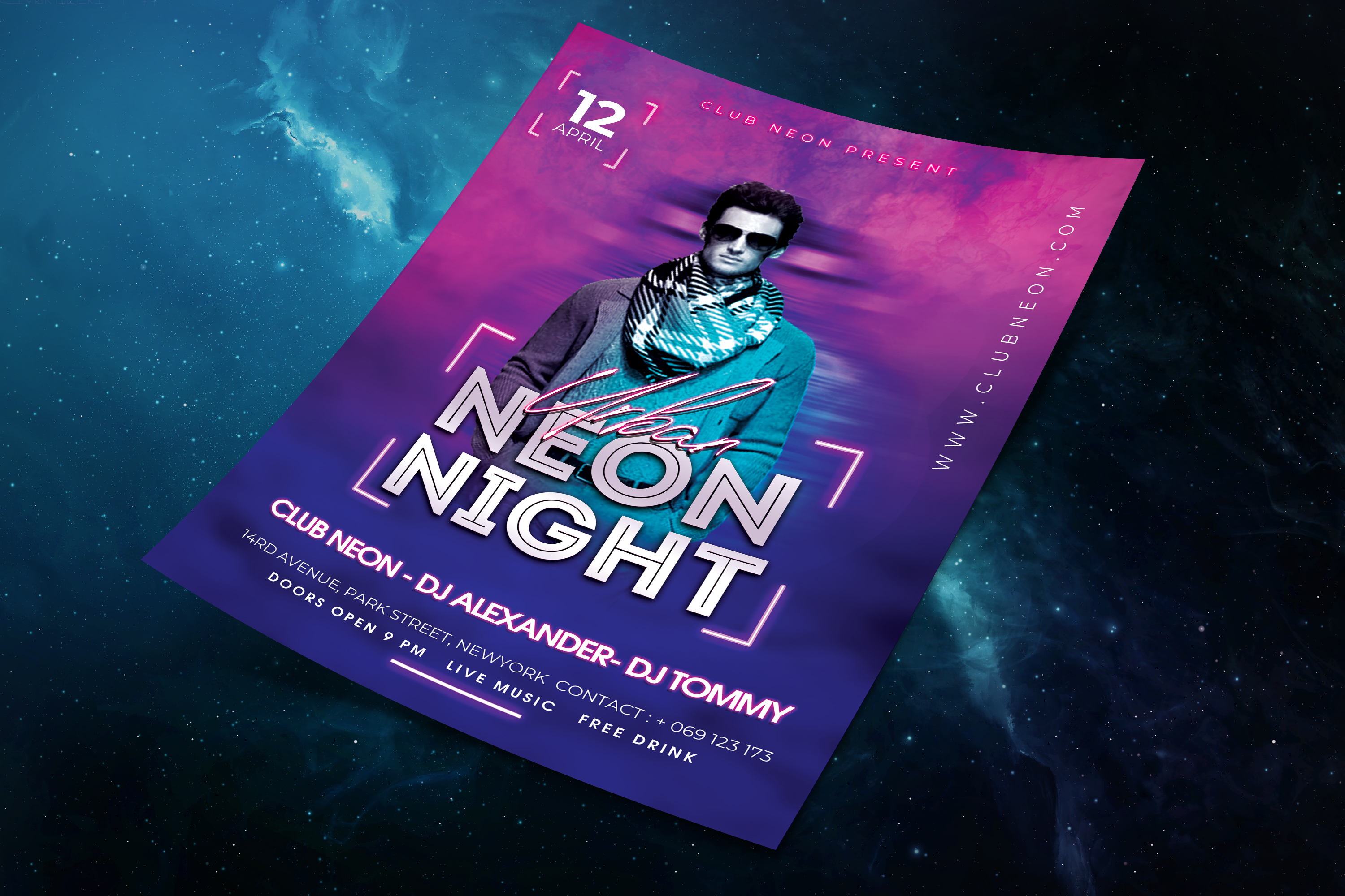 Neon Night Party Flyer Template example image 5