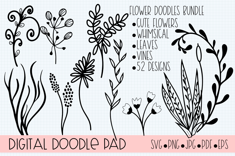 Floral Doodle Bundle Silhouette and Cricut example image 6
