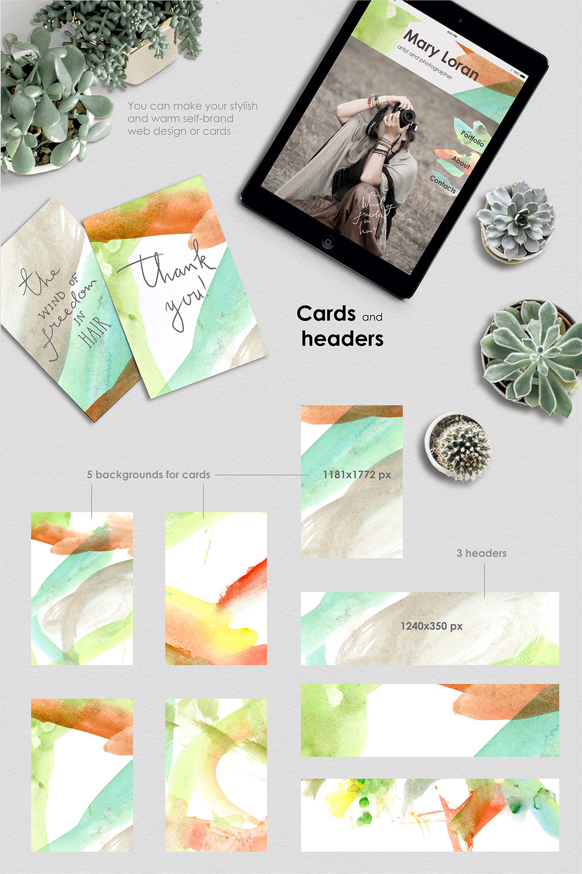 Be an Artist. Watercolor decor kit. example image 5