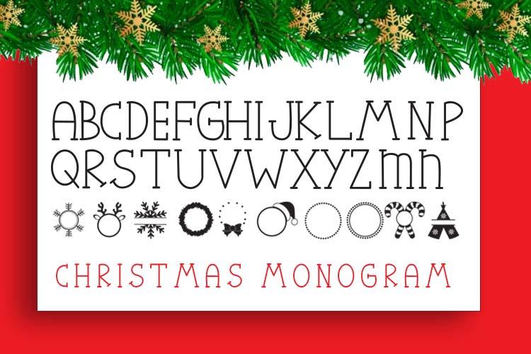Christmas Mono, a font with frames of Christmas monograms example image 2