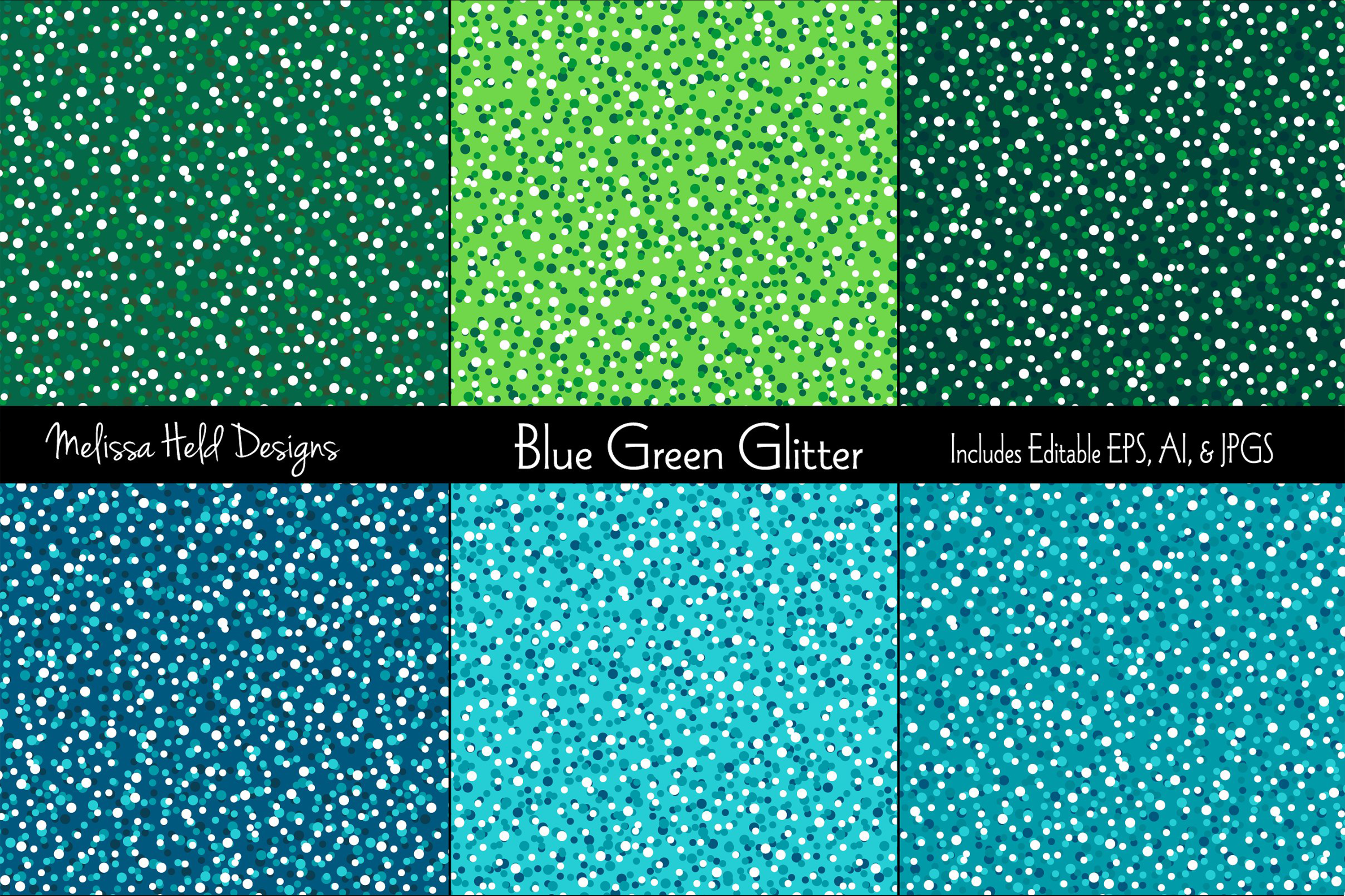Blue & Green Glitter Textures example image 1