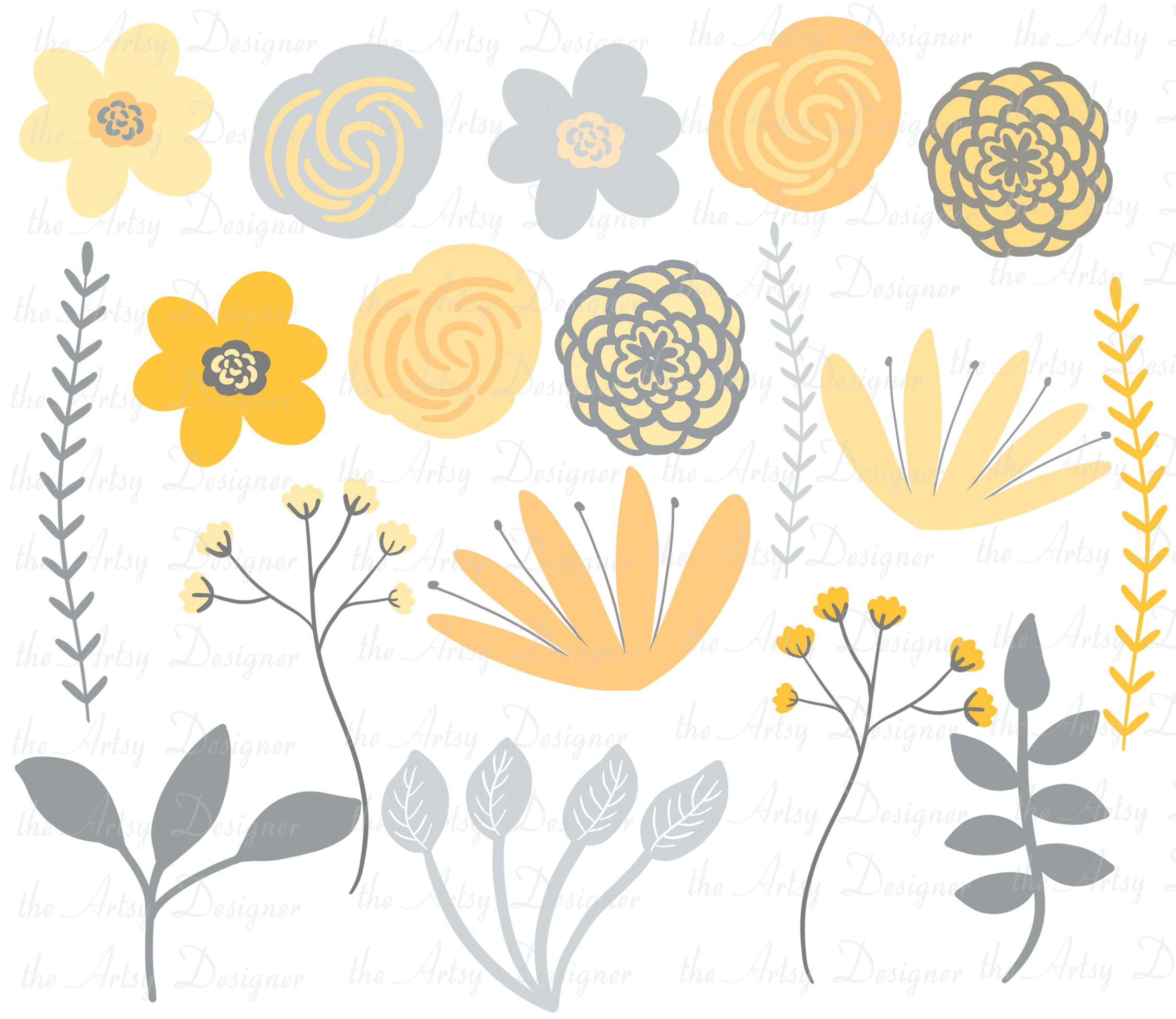 Yellow and Gray Flowers Botanical Sublimation Clipart Bundle example image 2