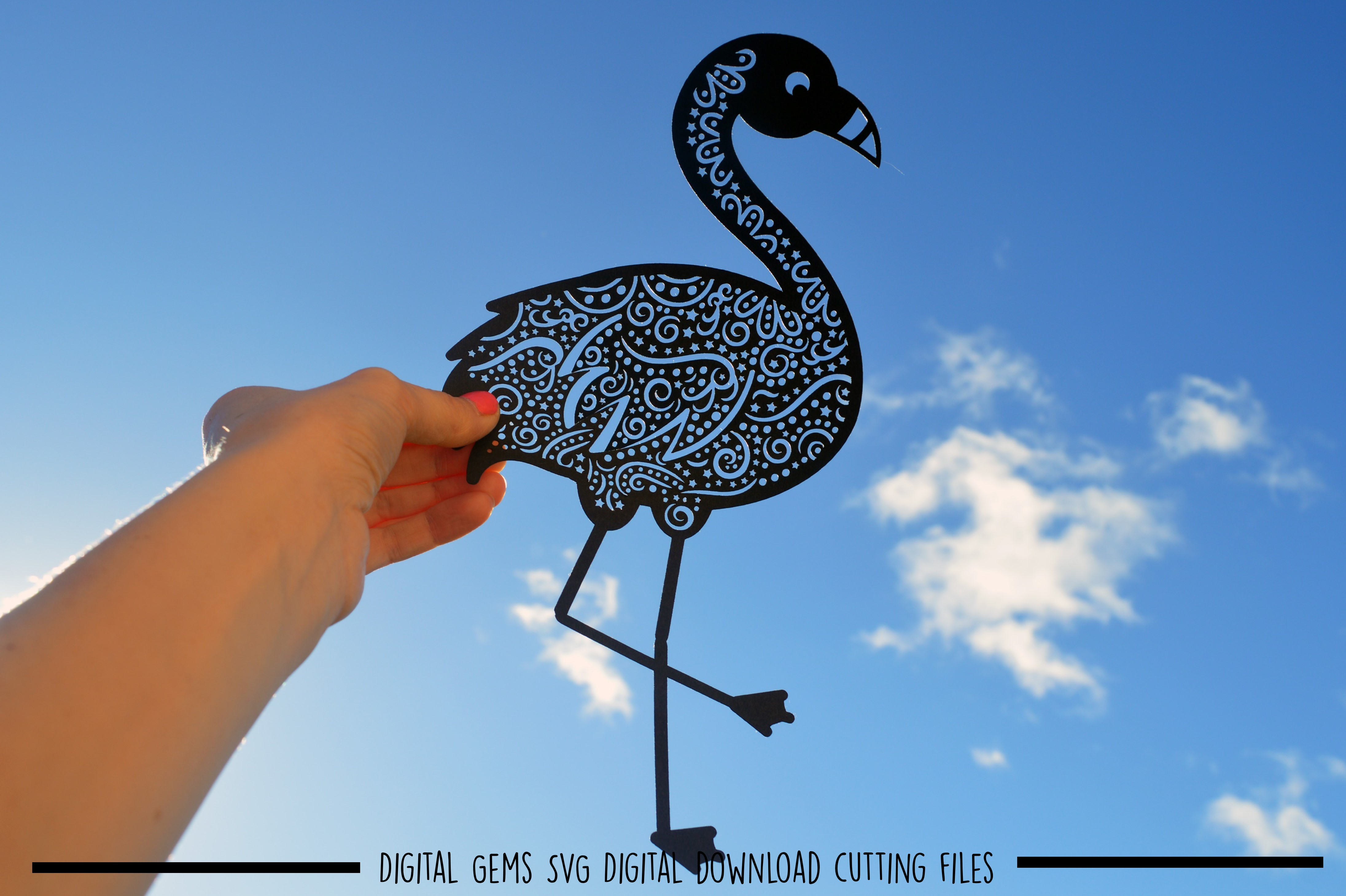 Flamingo paper cut SVG / DXF / EPS files example image 3