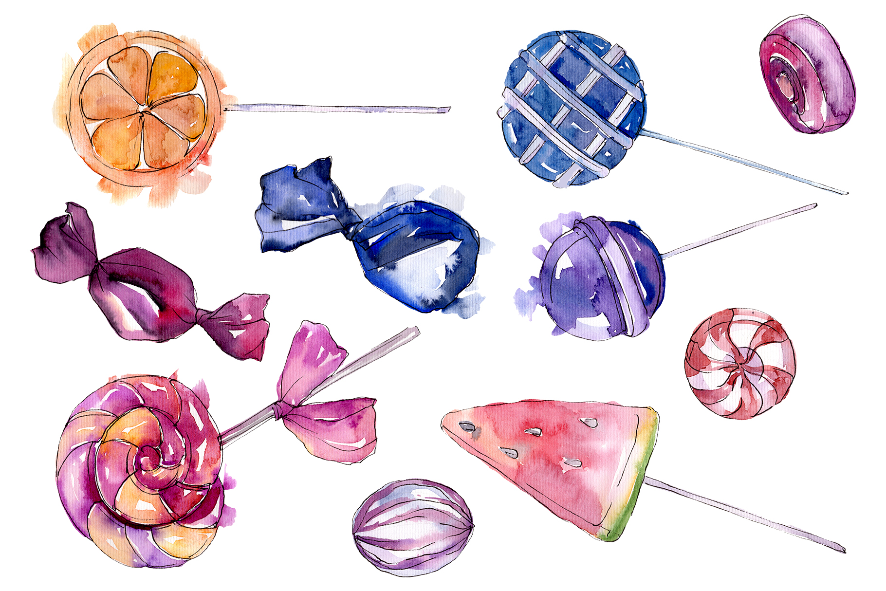 Dessert sweets Watercolor png example image 1