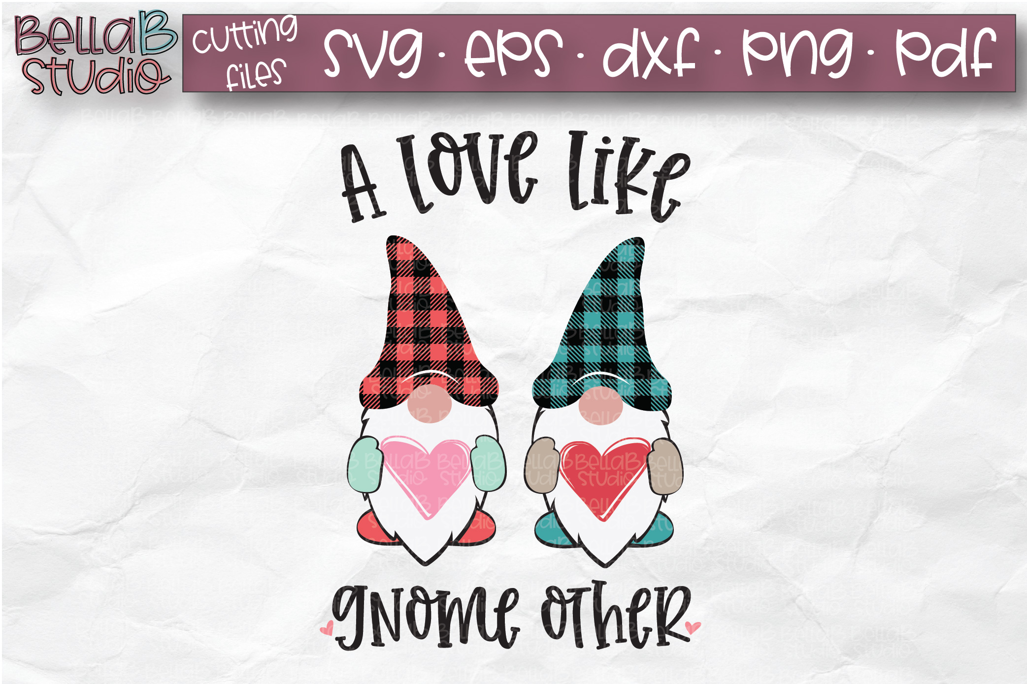 Valentine Gnomes SVG, A Love Like Gnome Other SVG, Plaid example image 1