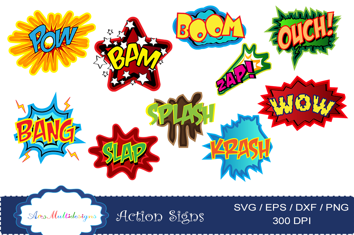 action signs svg vector clipart / action sign silhouette / zap clipart / bang clipart / pow clipart / boom clipart /pop art / comic book example image 3