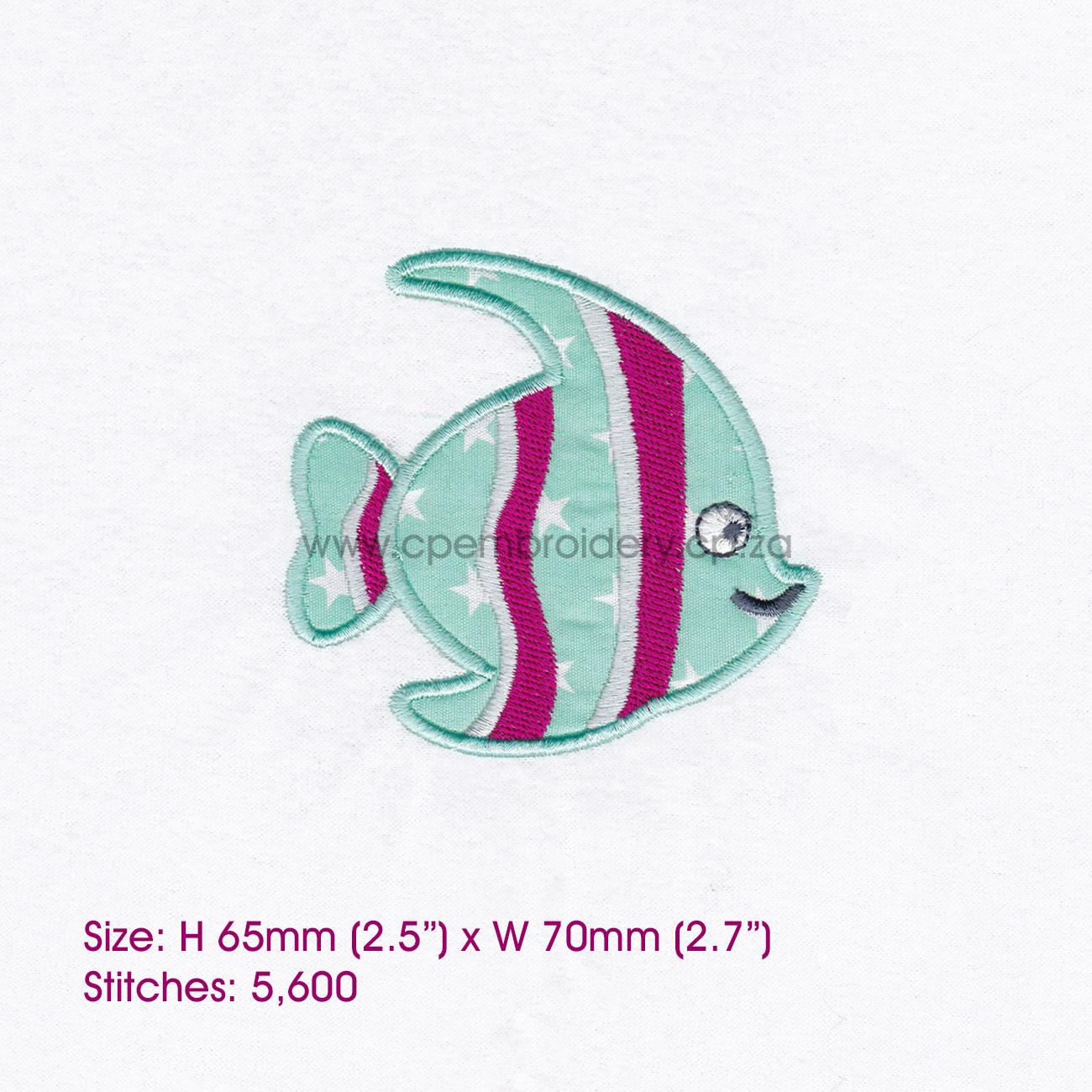 Striped Moorish Idol Pet Fish Applique Design example image 2