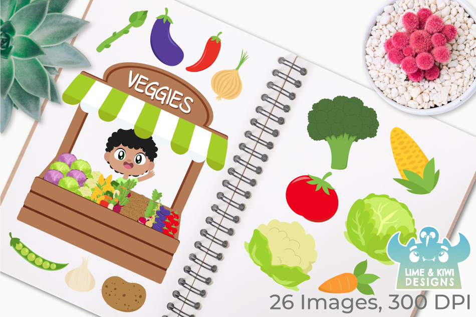 Vegetable Stall Clipart, Instant Download Vector Art example image 3