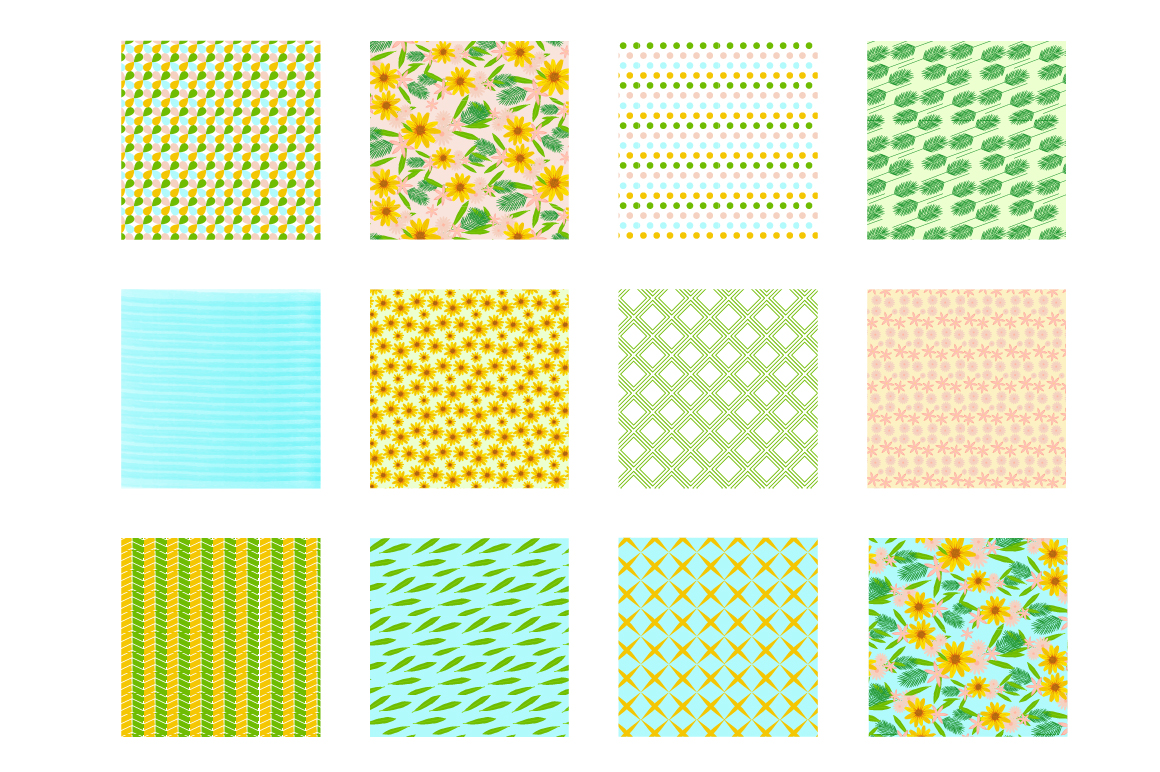 Sunshine Florals Pattern collection, vector ai, eps and jpeg example image 2