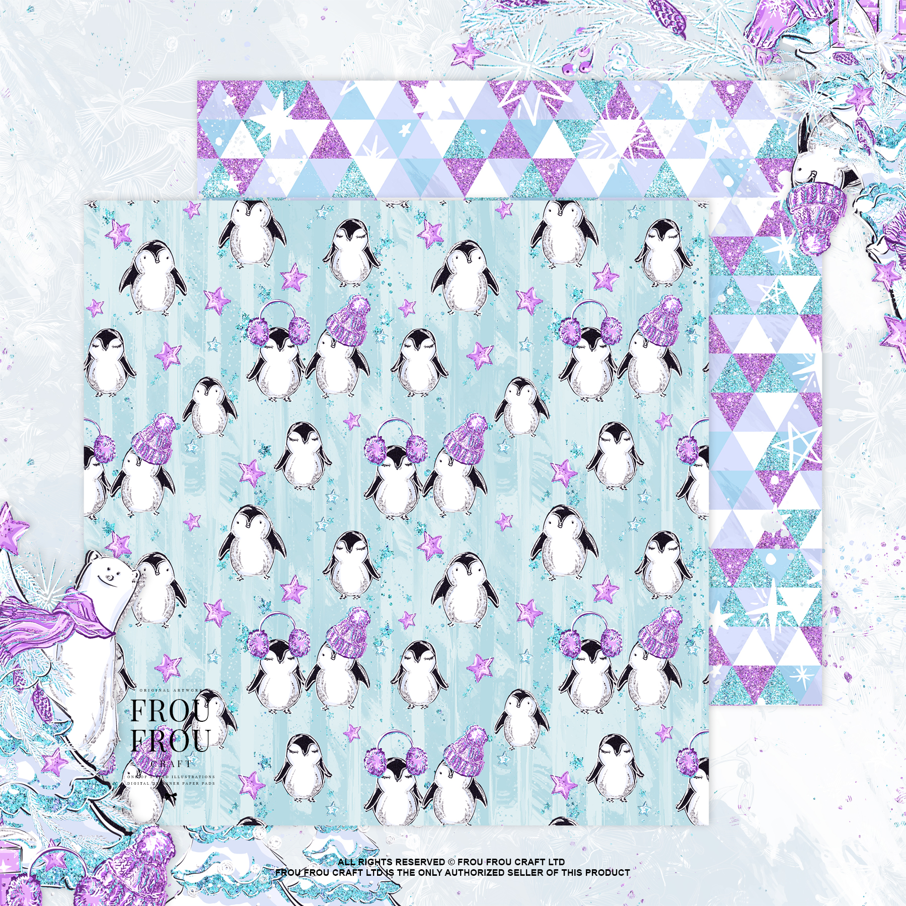 Winter Christmas Tree Penguin Bear Paper Pack example image 2