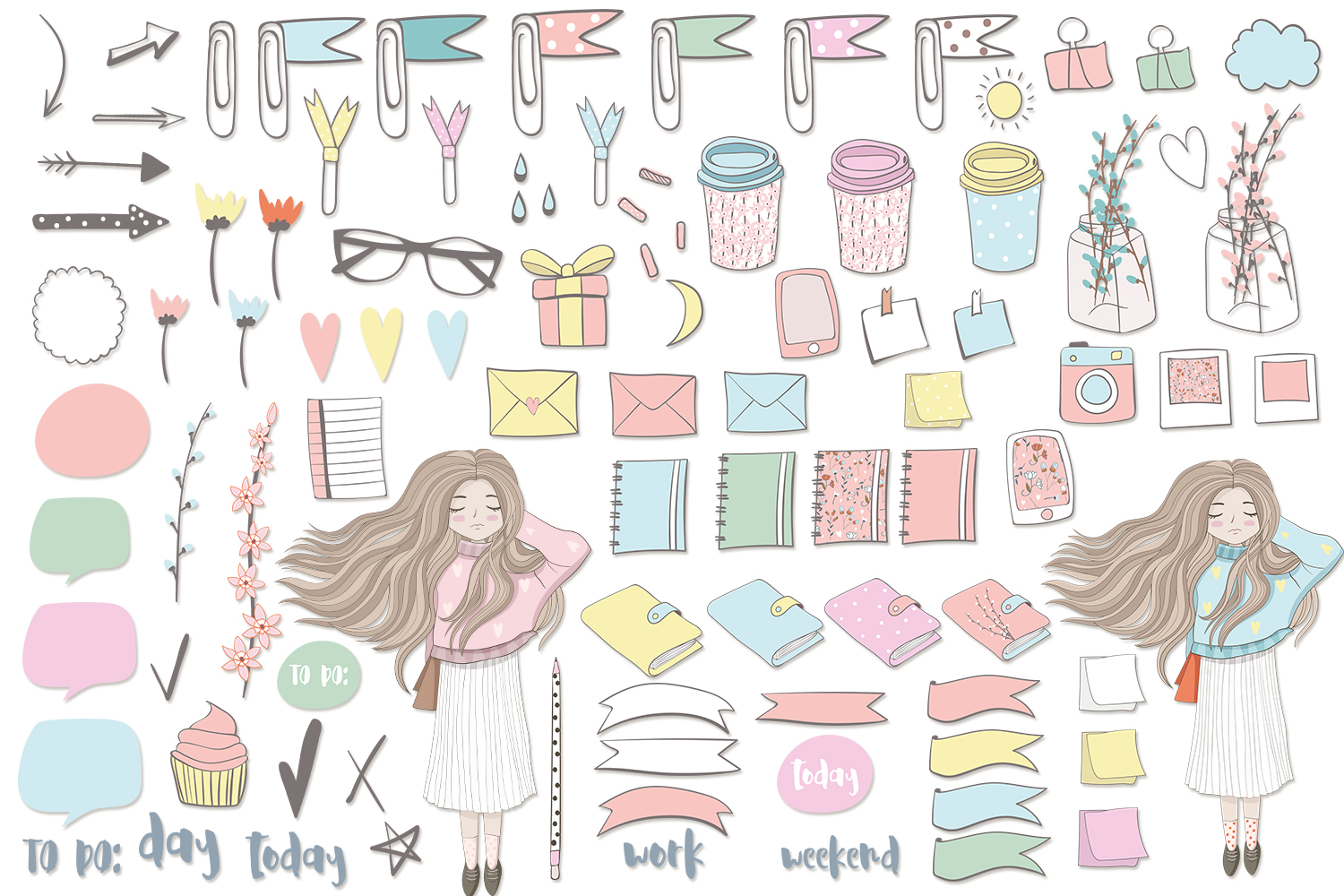 Planner Girl Clipart. Weekly & daily example image 3