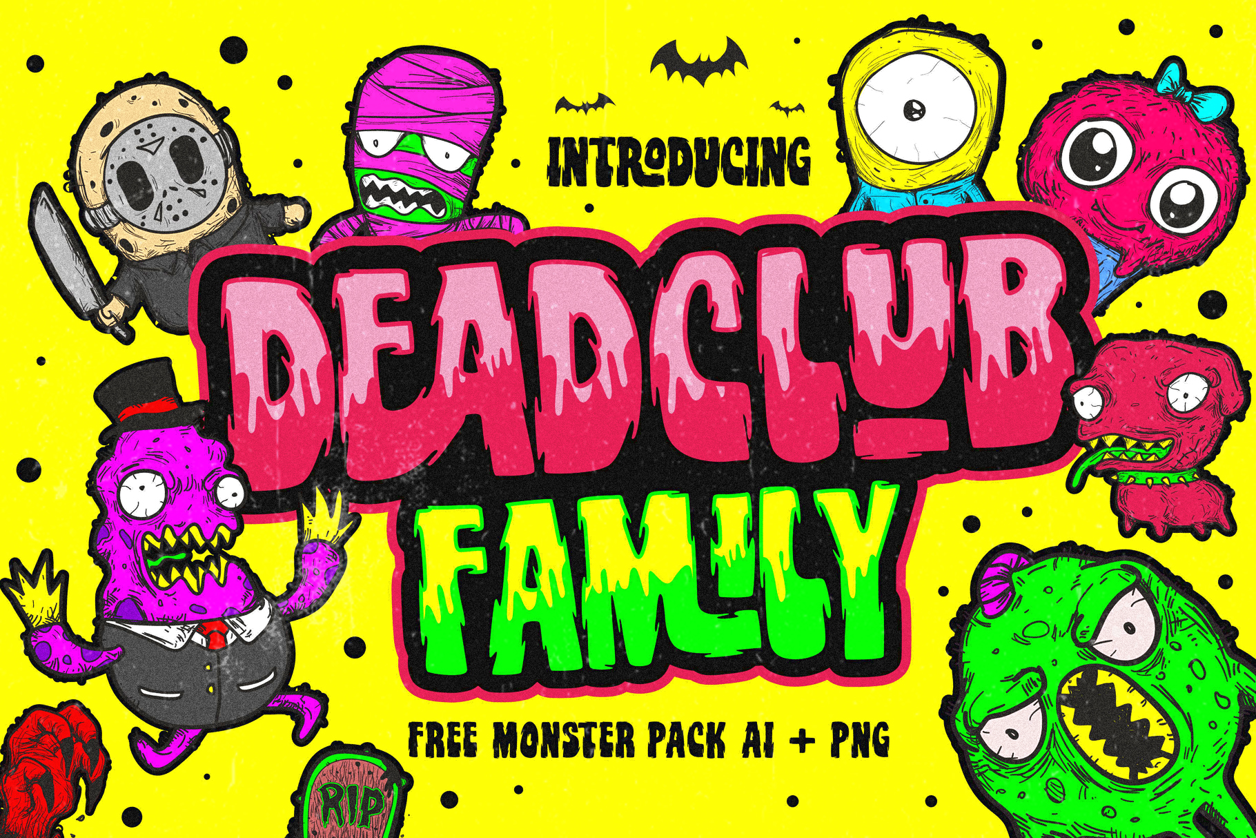 Deadclub Family Font | Bonus Monster Pack Ai and Png example image 1