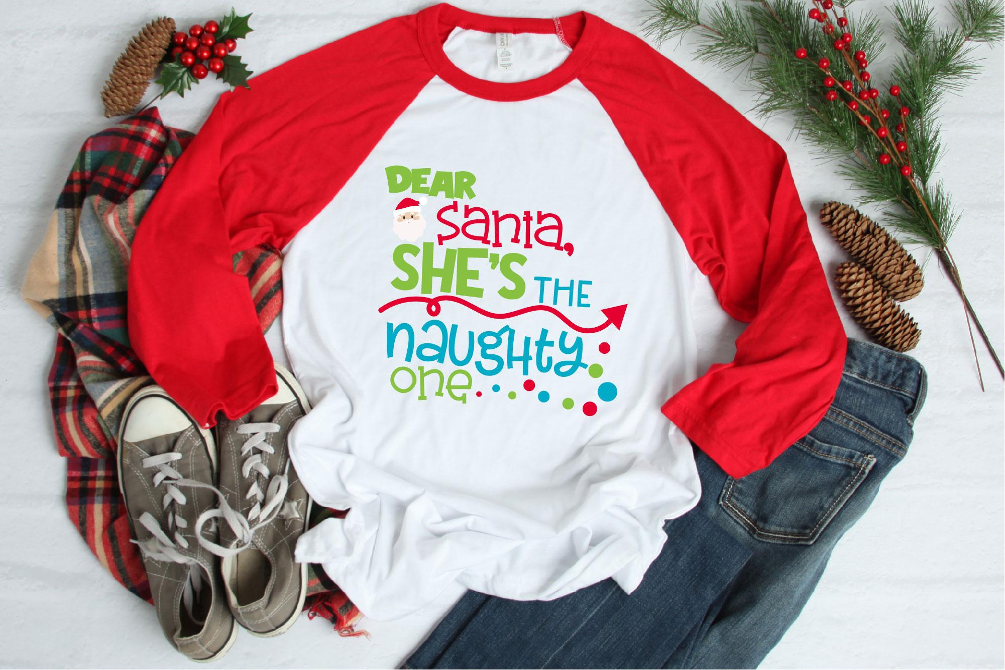 Naughty List, Dear Santa She's The Naughty One SVG Christmas example image 1