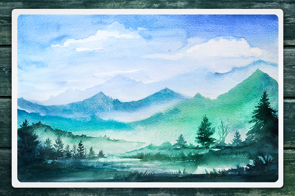 Watercolor Vector Landscapes set#2 example image 8
