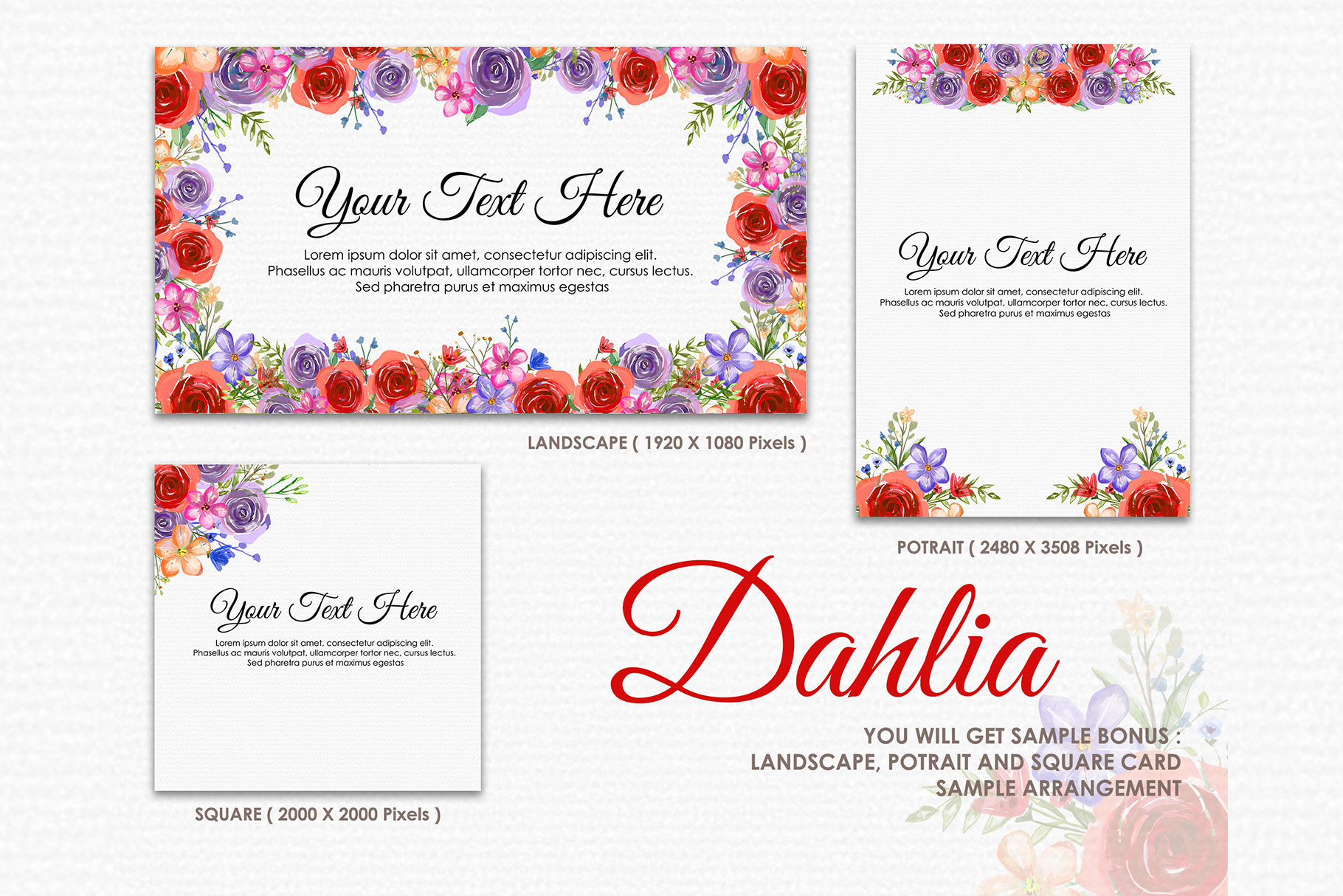 Dahlia - Digital Watercolor Floral Flower Style Clipart example image 4