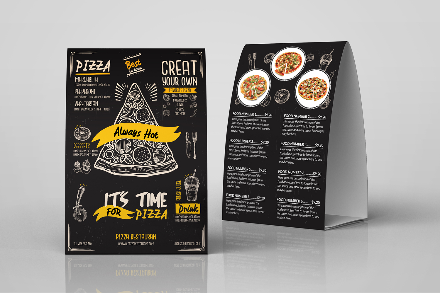 Pizza Food menu Table Tent Template example image 3