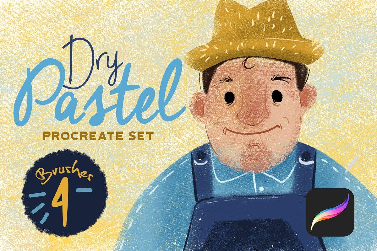Dry Pastel Procreate Set example image 1