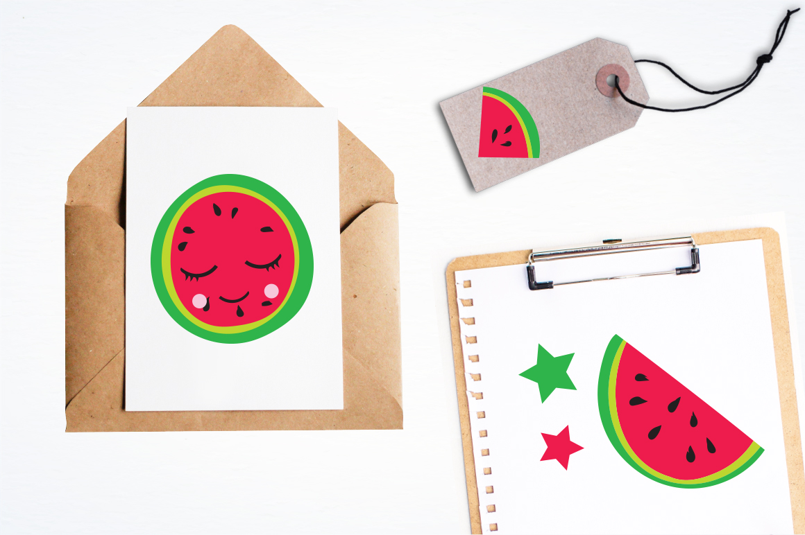 Kawaii Watermelons graphic and illustrations example image 2