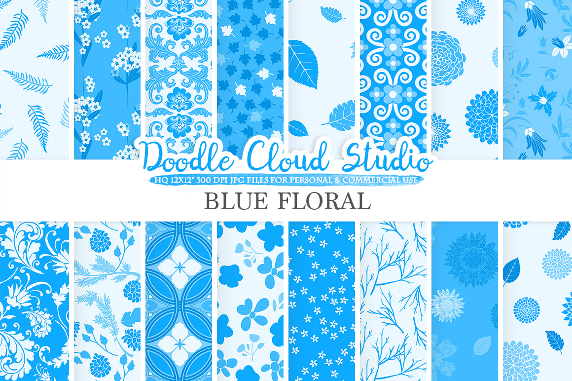Blue Floral digital paper, Blue Floral pattern Flowers Dhalia Leaves Damask Calico background Instant Download for Personal & Commercial Use example image 1