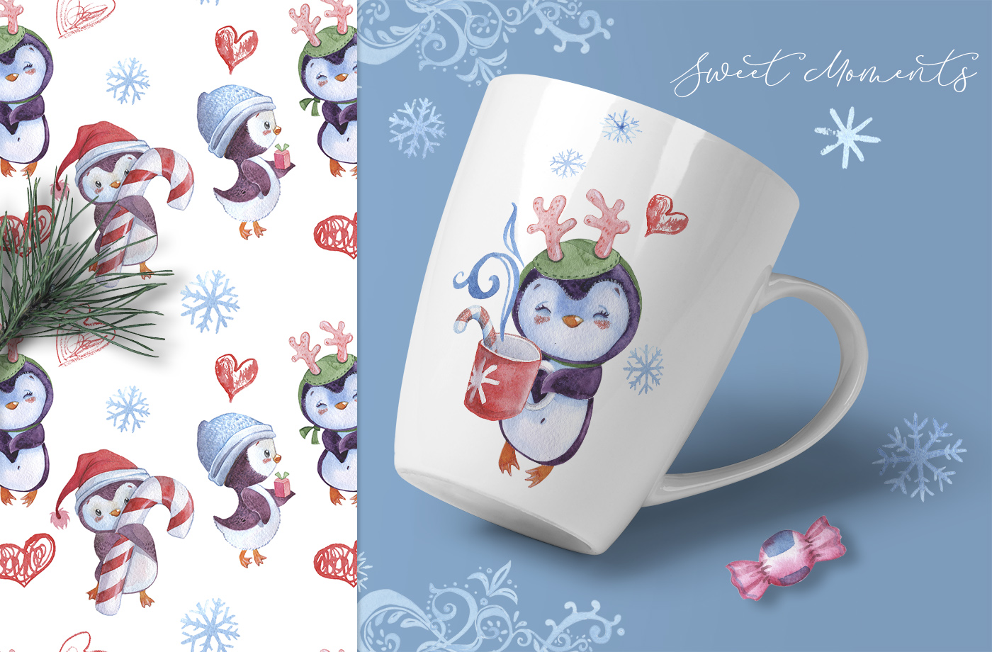 Christmas Penguins watercolor CLIPARTS, DIGITAL PAPERS example image 9